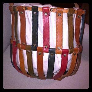 Handbags - Vintage Leather & Canvas Bucket Purse